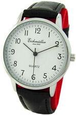 Eichmüller Quartz klassische Herrenuhr silber weiß Lederband schwarz mens watch
