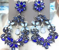 Wholesale Blue Glass Crystal Rhinestone Ear Drop Dangle Stud Earrings 848