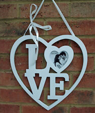 Heart Love Photo Frame Wall White Wood Hanging 33 cm Shabby Chic Romantic New