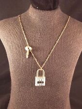 """Lonora Dame 31"""" Gold Tone Necklace with Padlock & Key Pendant"""