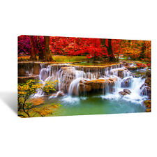 Large waterfall mountain,water,landscape 20x40 inch Panorama Canvas Wall Picture