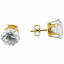 Stainless Steel Gold Unisex Stud Earring with 8 mm Clear Round CZ