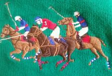 RALPH LAUREN POLO MEN'S HALF ZIP HORSEMEN EQUESTRIAN GREEN SWEATER  MEDIUM