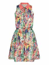 Yumi Tropical Parrot Print Shirt Dress Size UK 12 RRP £60 Box4572 L