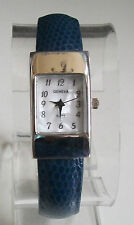 Ladies Geneva small NAVY  Leather Bangle Cuff Quartz  Fashion Watch