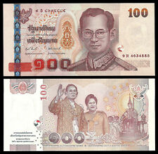 Thailand 100 Baht 2010 60th Wedding Anniversary Commemorative P-118, UNC