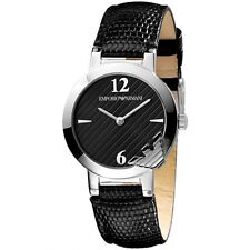NEW EMPORIO ARMANI SILVER TONE,BLACK EMBOSSED LEATHER BAND,LOGO, WATCH-AR0744