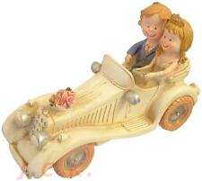 BRIDE AND & GROOM IN A CREAM IVORY VINTAGE CAR WEDDING CAKE TOPPER DECORATION