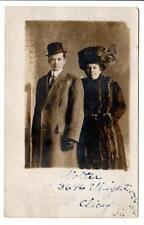rppc real photo Mother Son?Rich mink stoll & Muff bird Hat derby Chicago,Il,Id'd