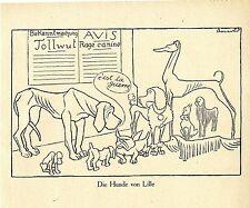 1915 Karl Arnold Kriegsflugblatt * Die Hunde von Lille *  WW1