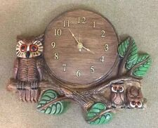 VTG Hand Painted Brown Owl Family On Branches Wall Clock Analog Battery-Operated