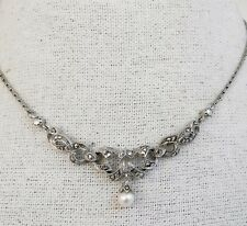 Vintage Sterling Cultured Pearl Marcasite Choker Necklace 1980s VictorianRevival