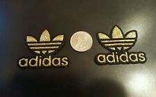 "2 - ADIDAS Gold Sparkle PATCHES  Logo embroidered iron on Patch Lot 2"" x 2"""