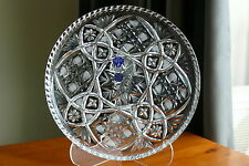 24% LEAD CRYSTAL ROUND DISH / TRAY, 27 cm, NEW,  HAND CUT, RUSSIA