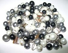 Gorgeous Vintage Silver Black Cream Pearl GLASS Crystal BEAD Jewellery NECKLACE