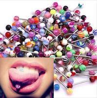 30/50/100 Tongue Piercing Surgical Steel UV Tongue Bar Nipple Bars Barbell - UK