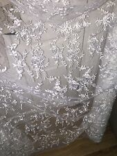 "1 MTR WHITE TULLE EMBROIDED CRYSTAL BRIDAL LACE NET FABRIC..58"" WIDE"