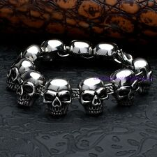 Punk Cool Men's Silver Stainless Steel Skull   Primary Cuff Bracelet