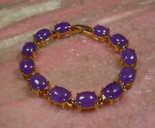 Gold Plate CHINESE Lavender JADE beads Bead Cabochon Bangle Bracelet 253541