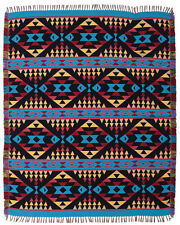 New Southwest Indian Reversible Accent Throw Blanket Native American Style 4'x5'