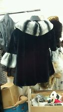 CHILDRENS CHILDS KIDS BLACK SHEARED MINK JACKET SWING COAT CHINCHILLA COLLAR NEW