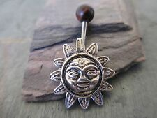 Aztec Sun Red Tiger Eye Natural Stone Top Belly Button Navel Ring