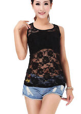 New Black Lace Sleeveless Top, Ladies Black Lace Sleeveless Vest Top, Size 6-10
