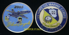 2005 US NAVY MARINES BLUE ANGELS COIN 59TH ANNIVERSARY PIN UP GIFT AIRSHOW PILOT