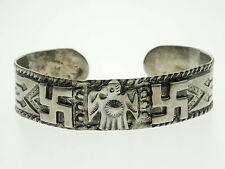Fred Harvey Era Old Pawn Whirling Log Thunderbird Sterling Silver Cuff Bracelet