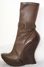 CELINE Brown Leather Platform Wedge Heel Ankle Boots 39