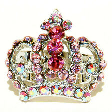 w Swarovski Crystal ~Pink Crown~ Princess Drag Queen Royal Adjustable Party Ring