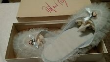 Vintage, handmade dot and peg woman's house slippers 6.5-7.5  with  box
