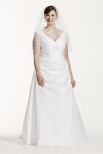 NWT David Bridals Off-the-Shoulder V-Neck Plus Size Wedding Dress White Size 22W