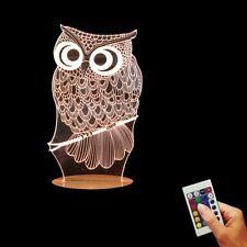 Owl Design 3D illusion USB Color Changing Lamp LED Wood Base Bulbing Night Light