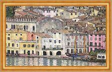 Malcesine am Gardasee Italien Landschaftsbild Wasser Bütten Klimt A3 078