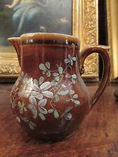 ancien petit pichet pot a lait faience decor peint violettes
