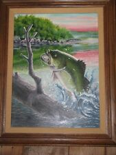Wiley Miller Fishing Facts Original Oil Painting: May 1972 Bass Jumping over log