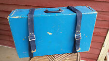 VINTAGE Luggage Suitcase Blue Cardboard With Blue Straps
