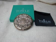 SILVER POCKET MAKEUP MIRROR BY TOWLE WITH INITIALS
