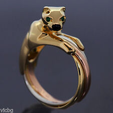 Cartier Triniti Tri-Color Gold Panthere Panther Ring Emerald Eyes 18K
