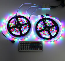 2 x 5M LED Light Strip10M 3528 SMD 600LEDs RGB+44 Key IR Remote Controller DC12V