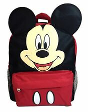 "Disney Mickey Mouse Face Back to School Backpack 12"" Small Bag with Ear"