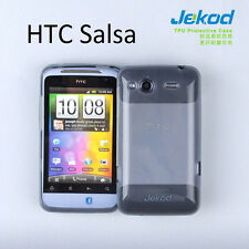 Jekod black TPU gel silicone case cover + screen protector for HTC Salsa