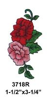 #3718R Pink,Red Rose Flower Embroidery Iron On Applique Patch