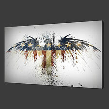 "AMERICAN EAGLE FLAG MODERN DESIGN PICTURE BOX CANVAS PRINT 20""x16"" FREE UK P&P"