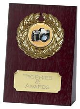 "PHOTOGRAPHY Wooden Wedge Trophy 4"" FREE ENGRAVING Camera Competition Award"