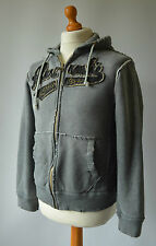 Men's Grey Distressed Look Abercrombie & Fitch Hooded Zipper Size S, Small.