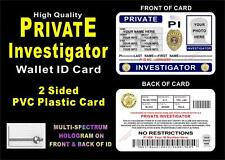 Private Investigator Wallet ID Card  CUSTOM WITH YOUR INFO & PHOTO  PVC PI ID