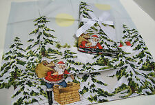 Williams Sonoma Holiday Vintage Santa Claus Chimney Dinner Napkins Set of 4
