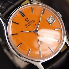 Authentic Omega Seamaster DeVille Date Orange Dial Automatic Mens Wrist Watch